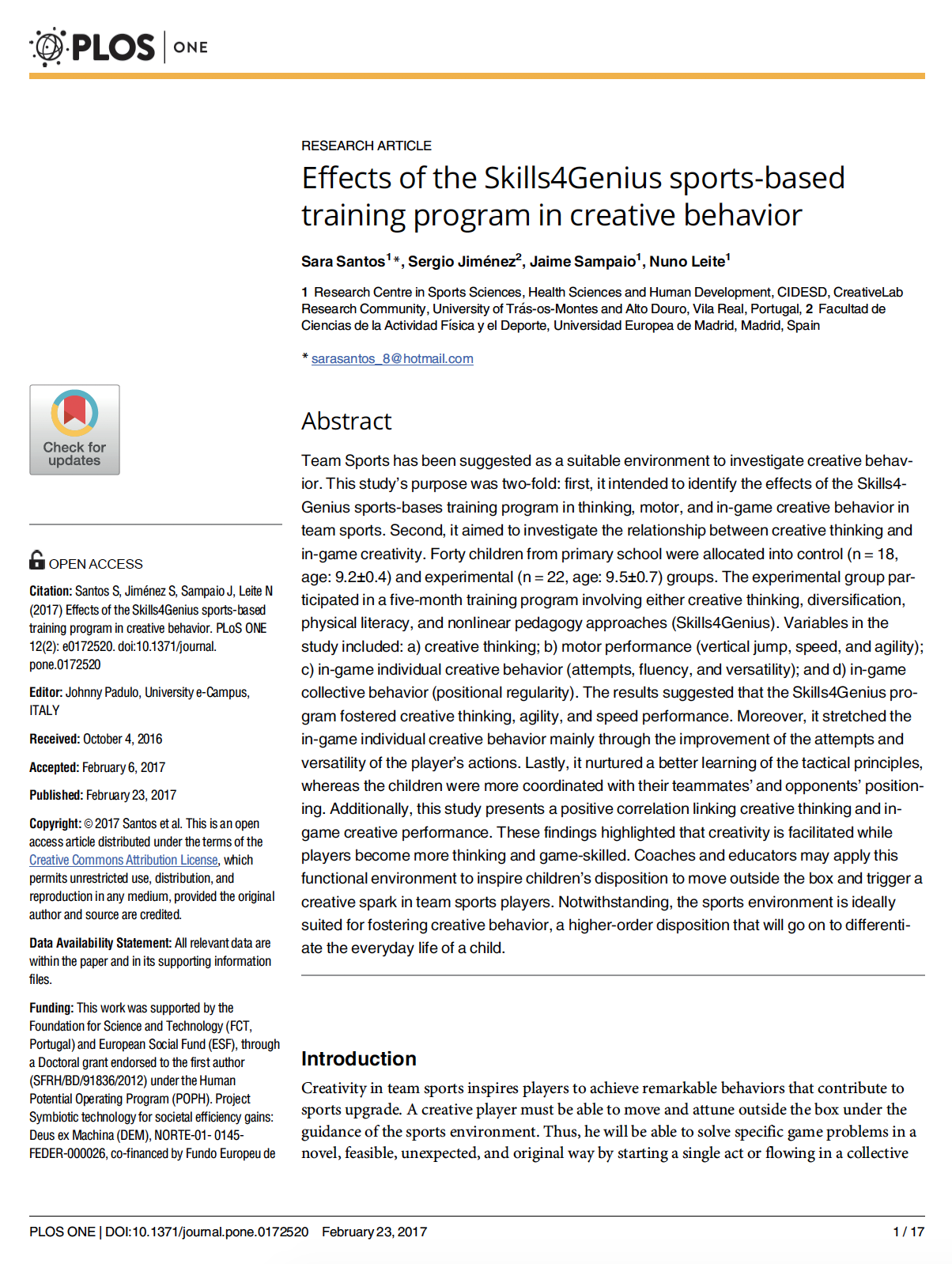 Effects of the Skills4Genius sports-based training program in creative behavior